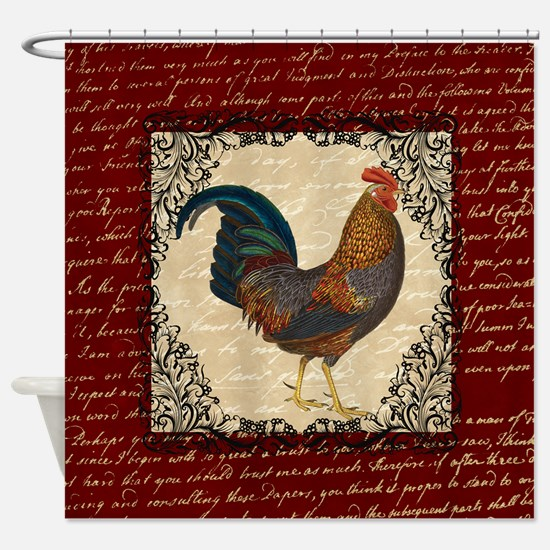 Red Vintage Rooster Shower Curtain
