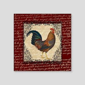Red Vintage Rooster Sticker