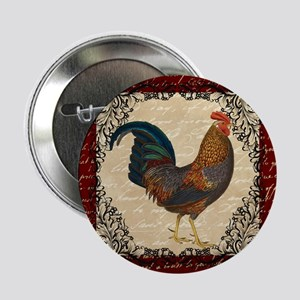 """Red Vintage Rooster 2.25"""" Button"""