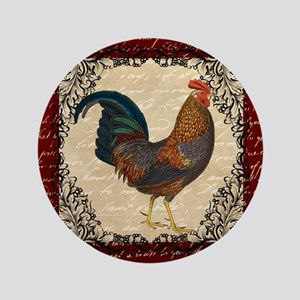 "Red Vintage Rooster 3.5"" Button"
