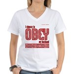 Choose To Obey Red Women's V-Neck T-Shirt