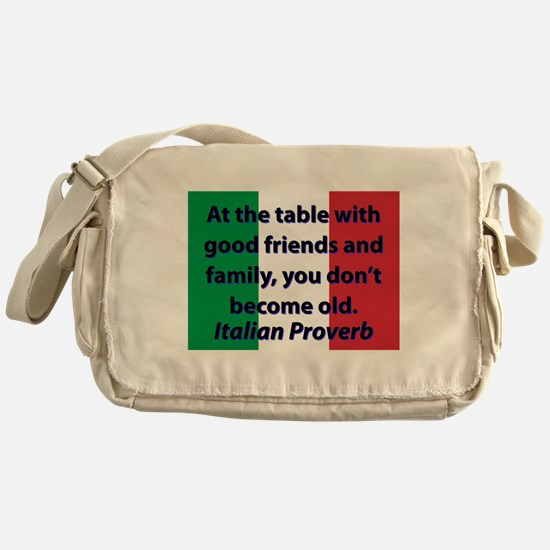 At The Table With Good Friends Messenger Bag