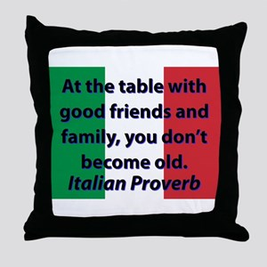 At The Table With Good Friends Throw Pillow