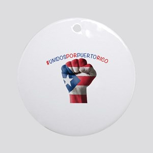 Puerto_Rico_Flag_Fist_5x2 Round Ornament
