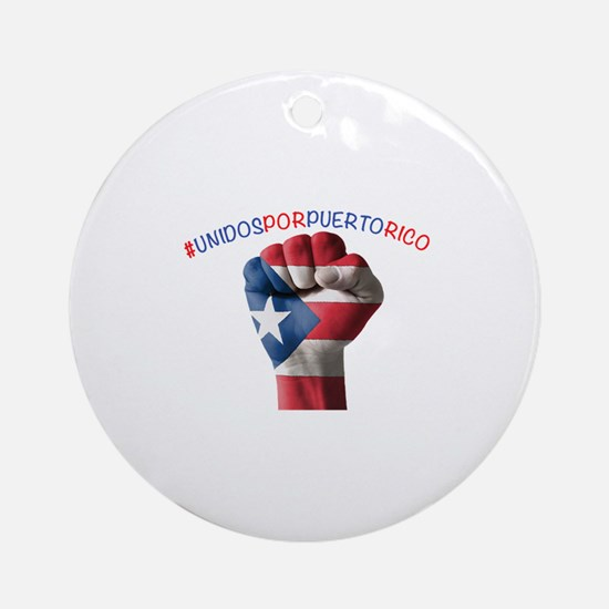 Puerto_Rico_Flag_Fist_5x2 Round Ornament