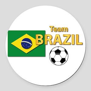 Team Brazil/brasil - Soccer Round Car Magnet