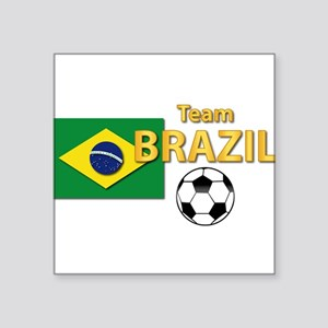 "Team Brazil/Brasil - Socce Square Sticker 3"" x 3"""
