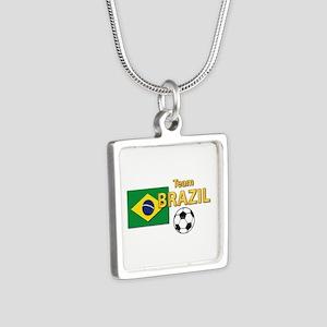 Team Brazil/Brasil - Socc Silver Square Necklace
