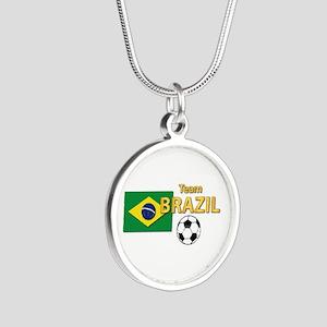 Team Brazil/Brasil - Soccer Silver Round Necklace