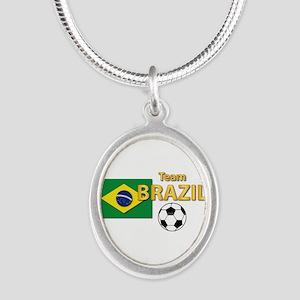 Team Brazil/Brasil - Soccer Silver Oval Necklace