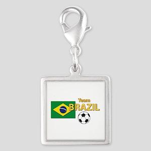 Team Brazil/Brasil - Soccer Silver Square Charm