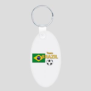 Team Brazil/brasil - Socce Aluminum Oval Keychains