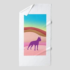 Boston Terrier Retro Hills Beach Towel