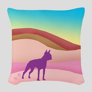 Boston Terrier Retro Hills Woven Throw Pillow