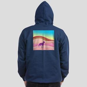 Boston Terrier Retro Hills Zip Hoodie (dark)