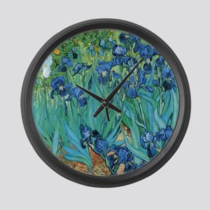 Van Gogh Garden Irises Large Wall Clock