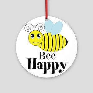 Bee Happy Honey Bee Ornament (Round)