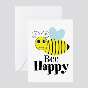 Bee happy greeting cards cafepress bee happy honey bee greeting cards m4hsunfo