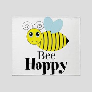 Bee Happy Honey Bee Throw Blanket