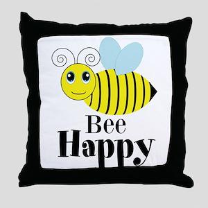 Bee Happy Honey Bee Throw Pillow