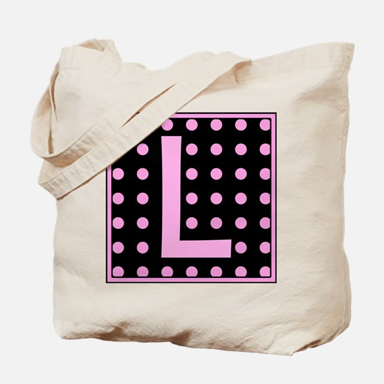 Pink Dots on Black Monogram Tote Bag