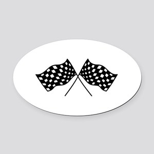 Checkered Flags Oval Car Magnet
