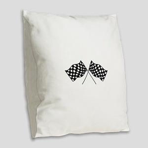 Checkered Flags Burlap Throw Pillow