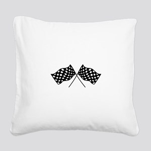 Checkered Flags Square Canvas Pillow