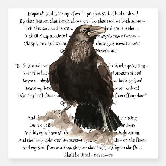 Edgar Allen Poe The Raven Poem Square Car Magnet 3