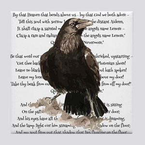 Edgar Allen Poe The Raven Poem Tile Coaster