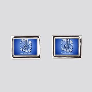Personalized Blue Treble Cle Rectangular Cufflinks