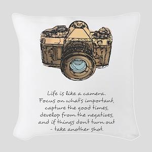 camera-quote-colour Woven Throw Pillow
