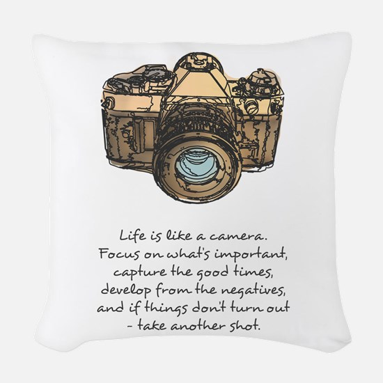camera-quote-colour Woven Throw Pillow
