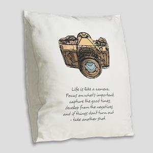 camera-quote-colour Burlap Throw Pillow
