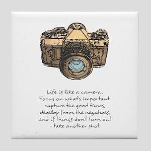 camera-quote-colour Tile Coaster