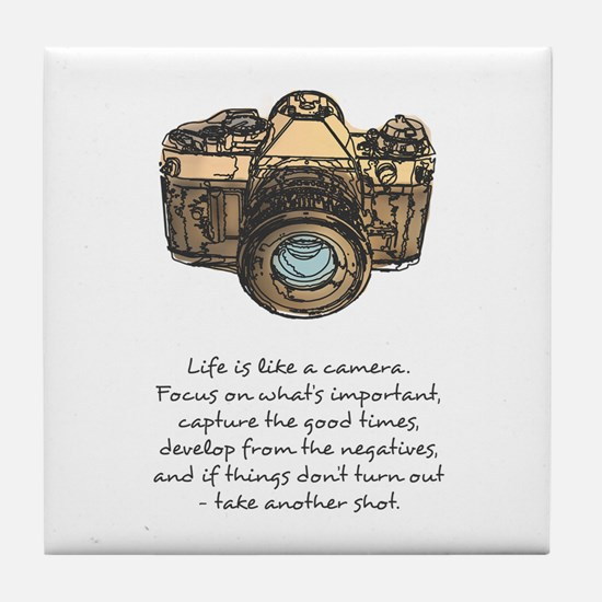 camera-quote-colour Tile Coaster