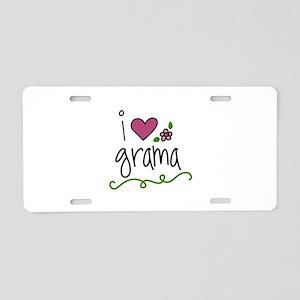 I Love Grama Aluminum License Plate
