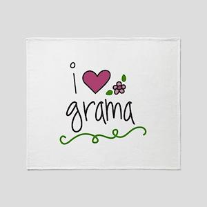 I Love Grama Throw Blanket