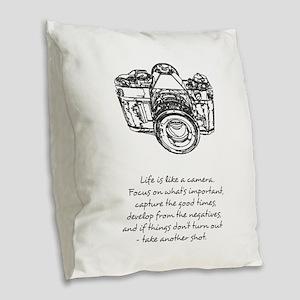 camera-quote Burlap Throw Pillow