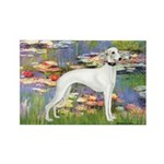 Lilies & Whippet Rectangle Magnet
