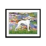 Lilies & Whippet Framed Panel Print