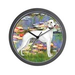 Lilies & Whippet Wall Clock