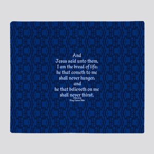 John 6:35 The Word blue Throw Blanket