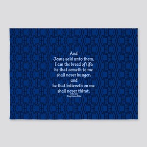 John 6:35 The Word blue 5'x7'Area Rug
