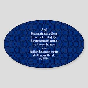John 6:35 The Word blue Sticker (Oval)