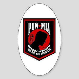 POW MIA (Red) Oval Sticker