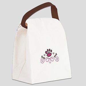 Dog Paw Swirl Canvas Lunch Bag