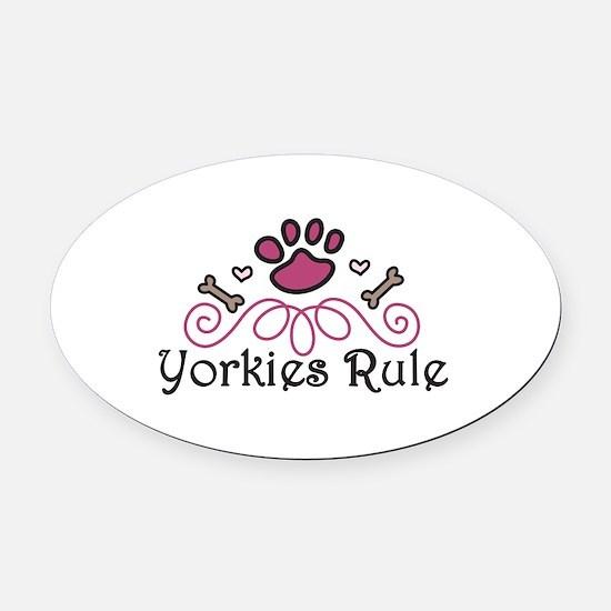 Yorkies Rule Oval Car Magnet