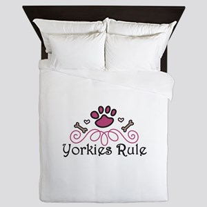 Yorkies Rule Queen Duvet