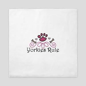 Yorkies Rule Queen Duvet